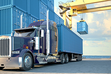 Truck with Cargo Container being loaded - logistics management